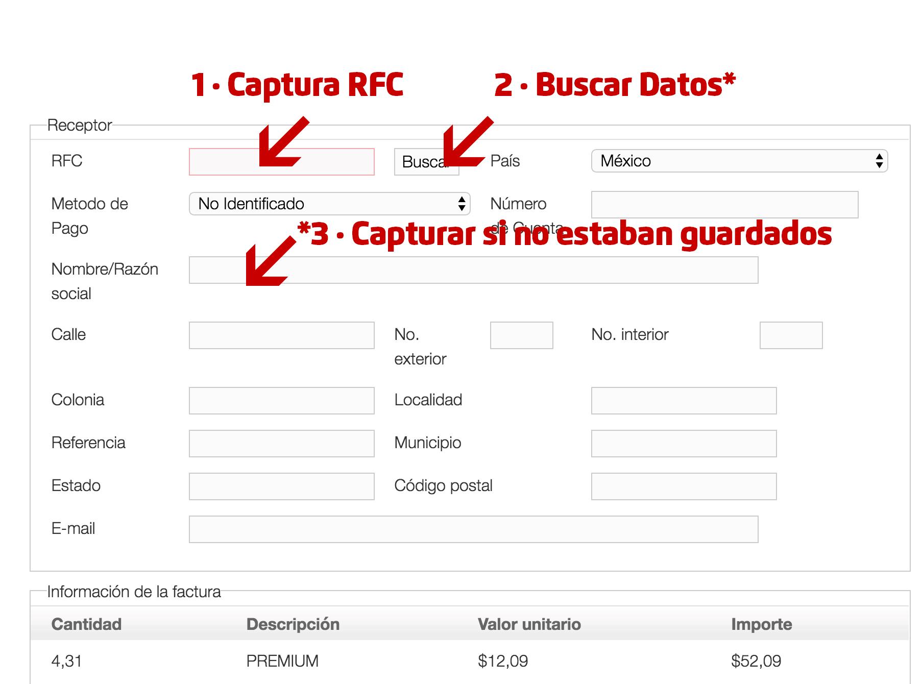 Permergas Paso 2  Capture Datos del RFC y Correo Electrónico