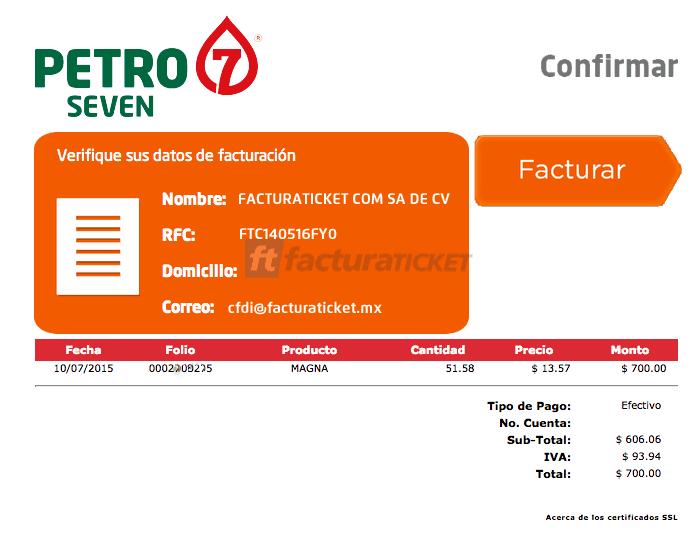 Petro 7 Paso 3  Confirme sus datos y descargue su factura.