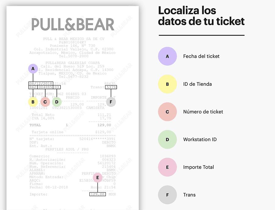 Pull & Bear Paso 1  Ubicación de datos en ticket de compra