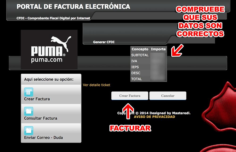 Puma Paso 3  Confirmación de datos y facturación