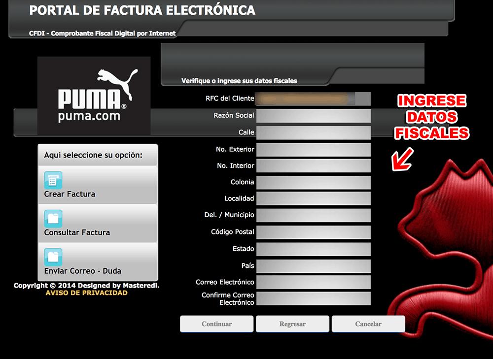 Puma Paso 2  Captura de datos fiscales