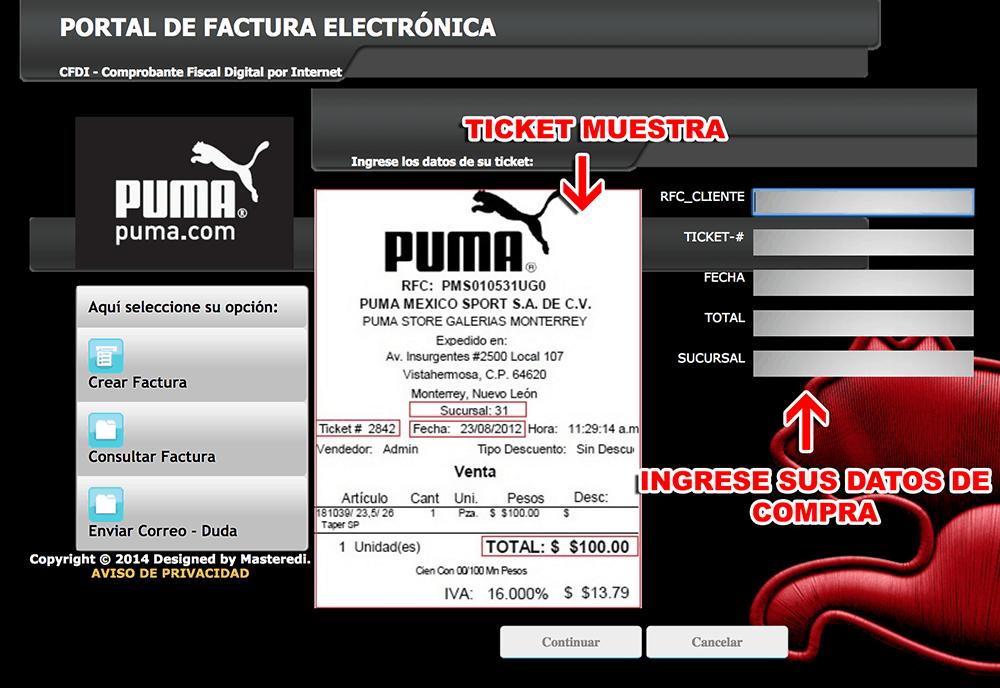 Puma Paso 1  Captura de datos de compra