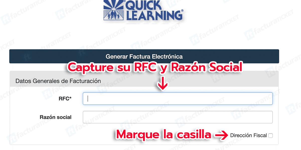 Quick Learning Paso 1 Capturar Información Fiscal