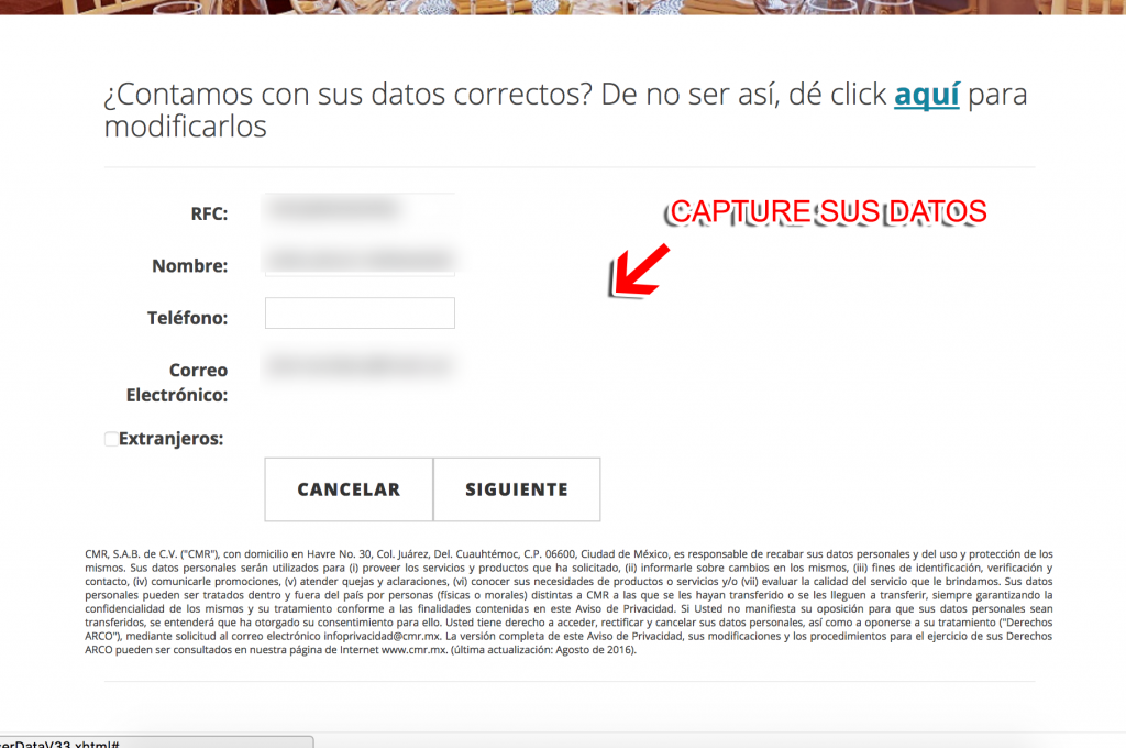Red Lobster Paso 2  Capture sus datos