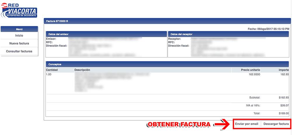 RED VÍA CORTA TEPIC – SAN BLAS Paso 3 Confirmación de factura