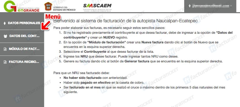Autopista Remedios Ecatepec (Saascaem)  Paso 2 – Capture sus Datos Fiscales