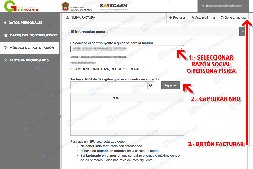 Autopista Remedios Ecatepec (Saascaem)  Paso 3 – Capture datos del ticket.