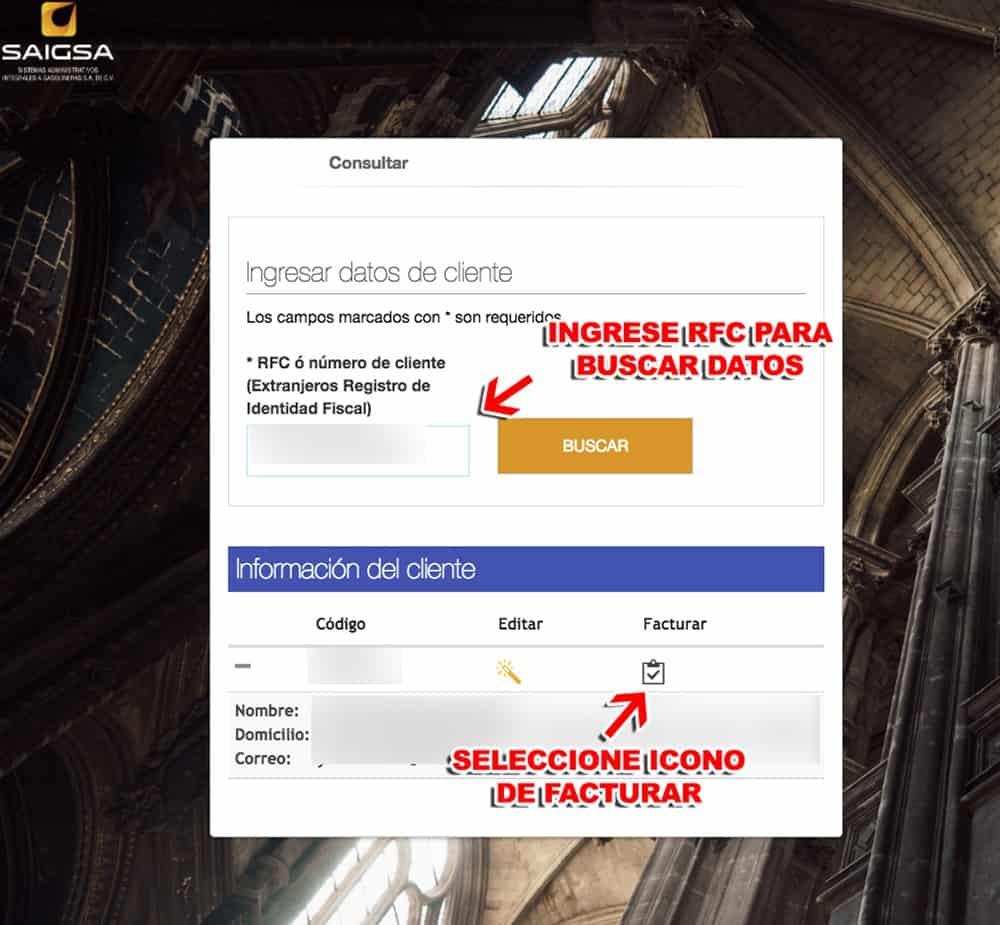 SAIGSA – Mi Factura de Gasolina Paso 3  Confirme sus datos y descargue su factura.