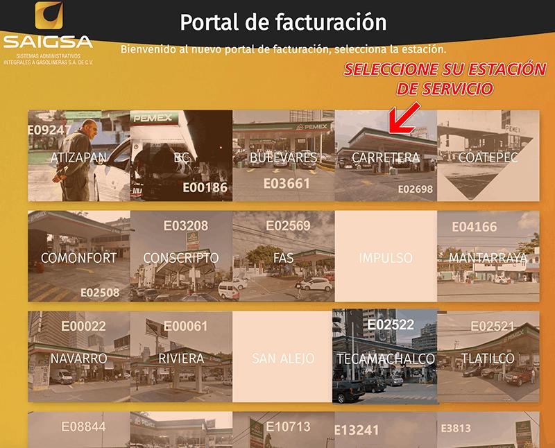 SAIGSA – Mi Factura de Gasolina Paso 1  Selección de estación y captura de datos de compra