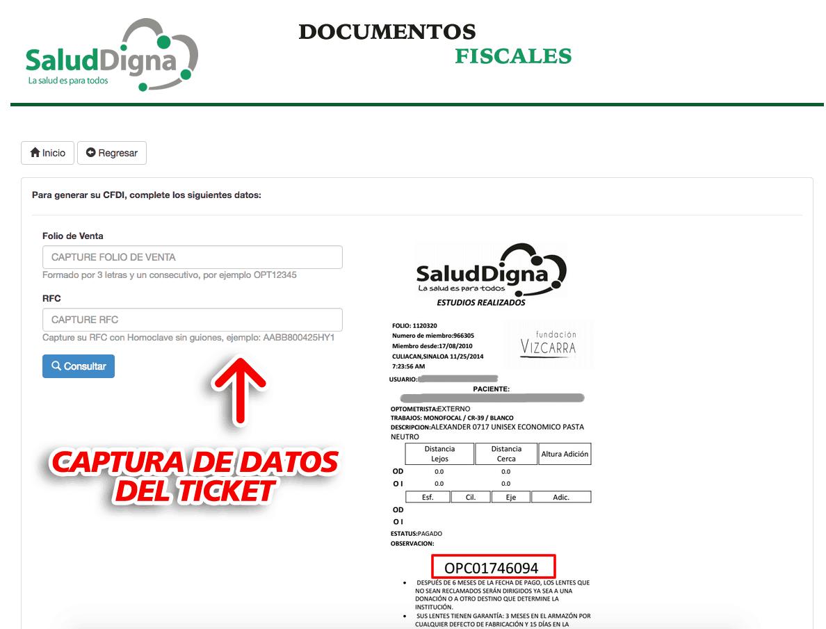 Salud Digna Paso 1  Ingresar datos de ticket de compra.