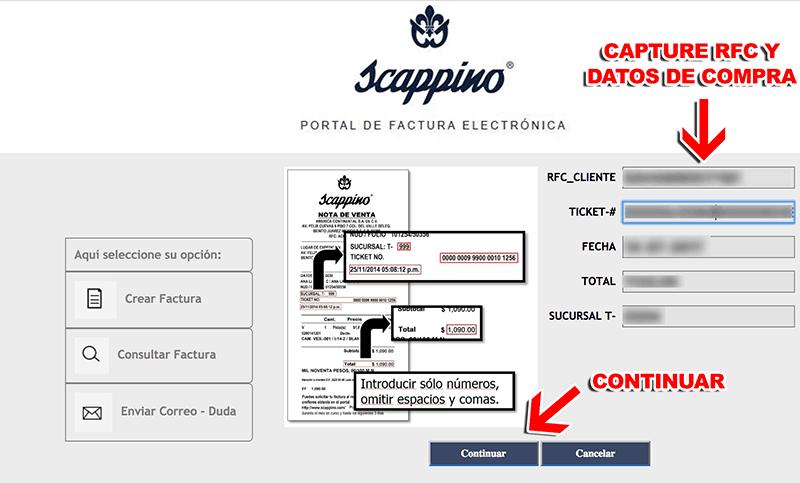 Scappino Paso 1  Capture la Clave del Ticket y su RFC.