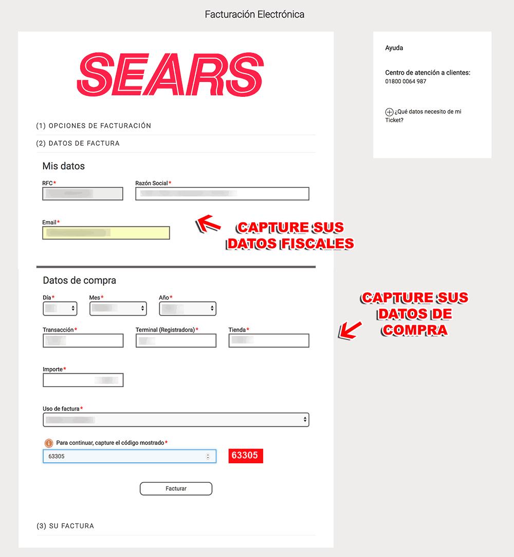 SEARS Paso 2 Ingrese al Sistema y Capture sus Datos Fiscales