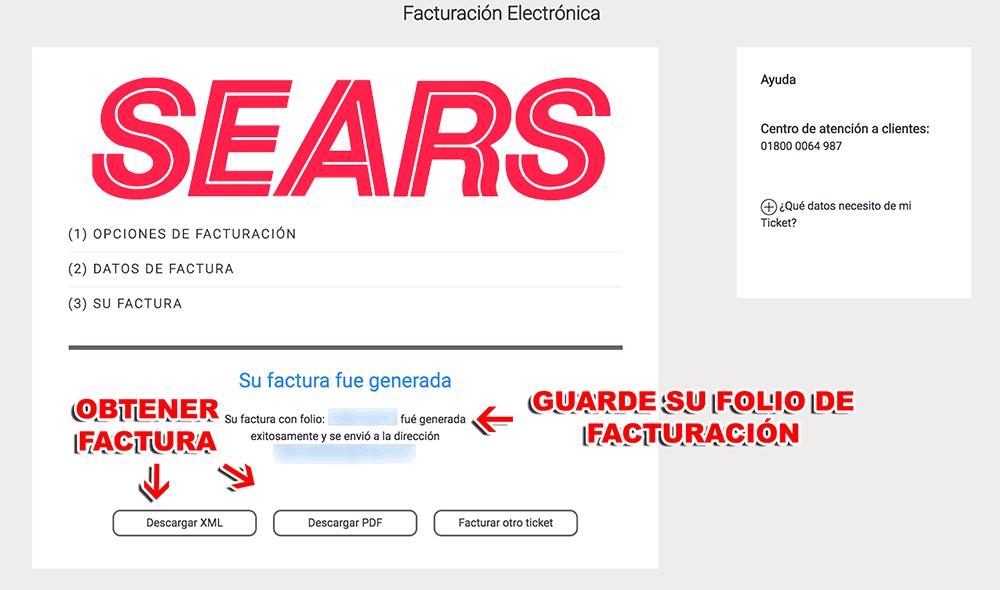 SEARS Paso 3  Descargar Factura.
