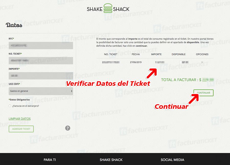 SHAKE SHACK Paso 1  Capture su RFC y Datos del Ticket