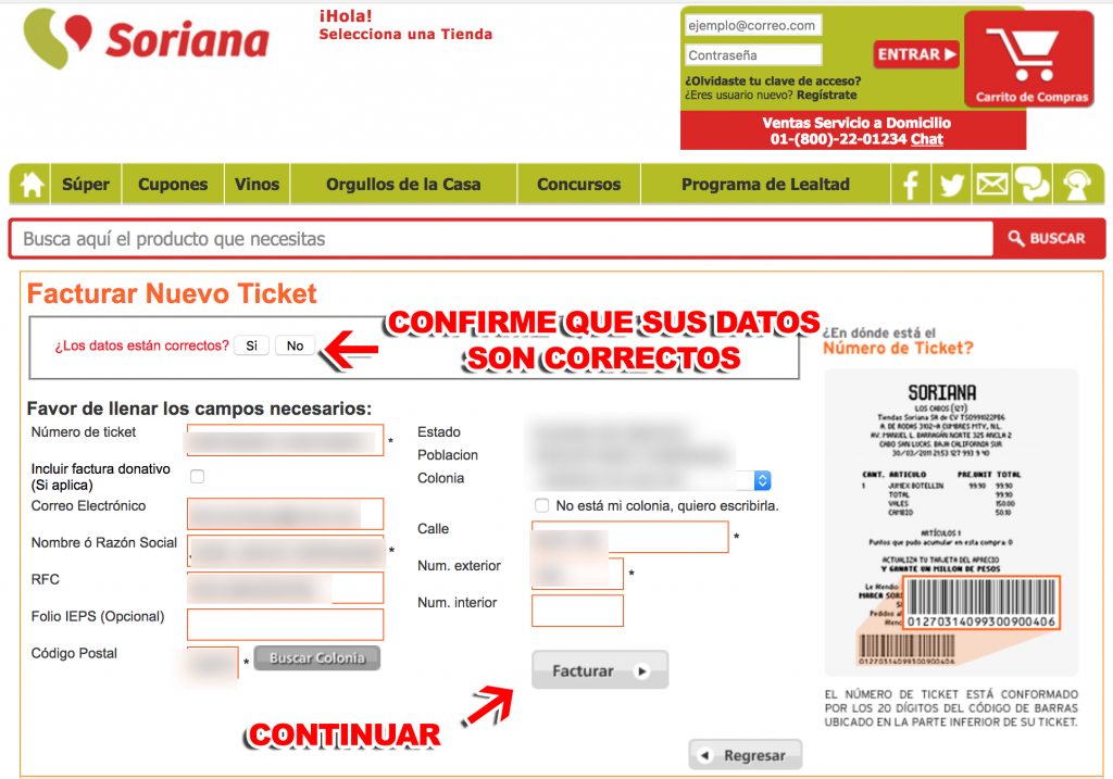 Soriana Paso 2  Confirmación de datos