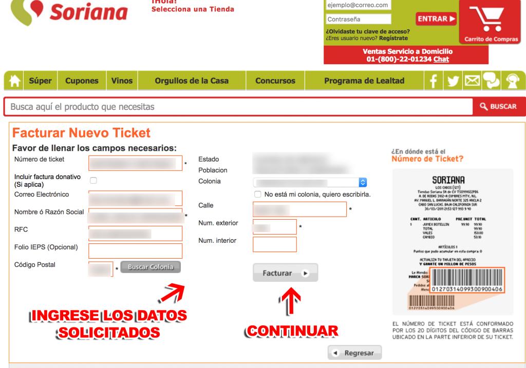 Soriana Paso 1  Captura de datos