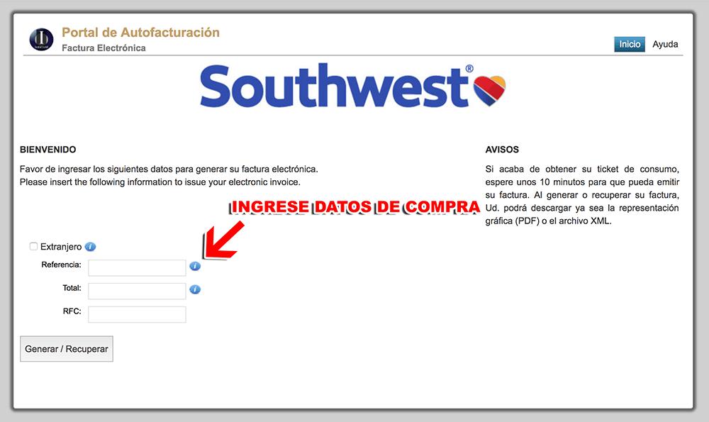 Southwest Paso 1  Captura de datos de compra