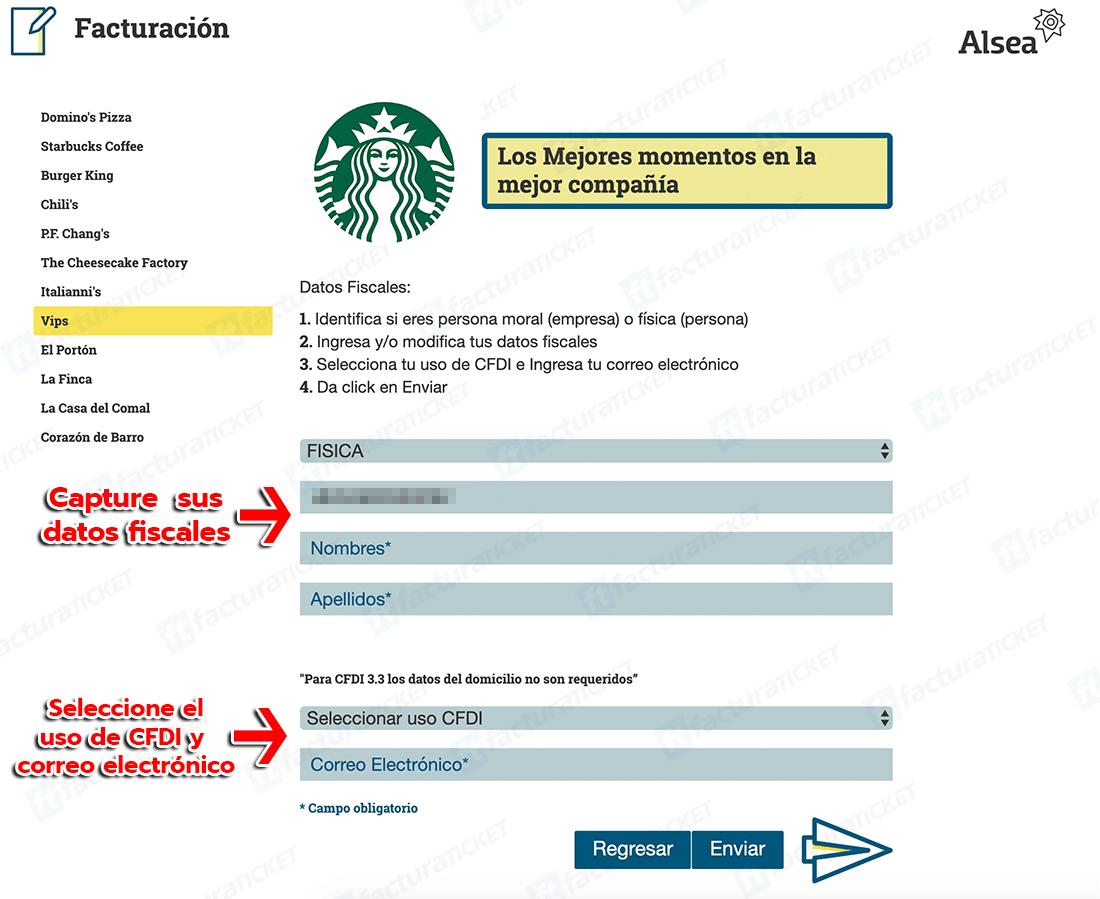 Starbucks Paso 2  Capture Datos de RFC