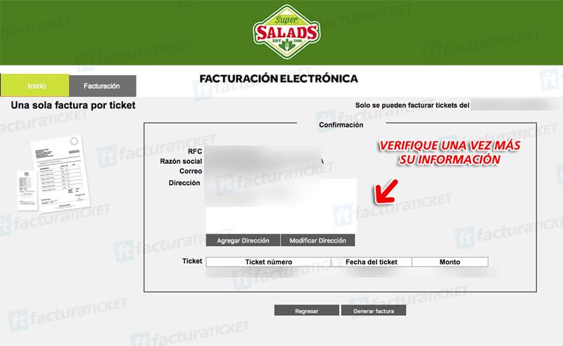 Super Salads Paso 3  Confirmación de factura