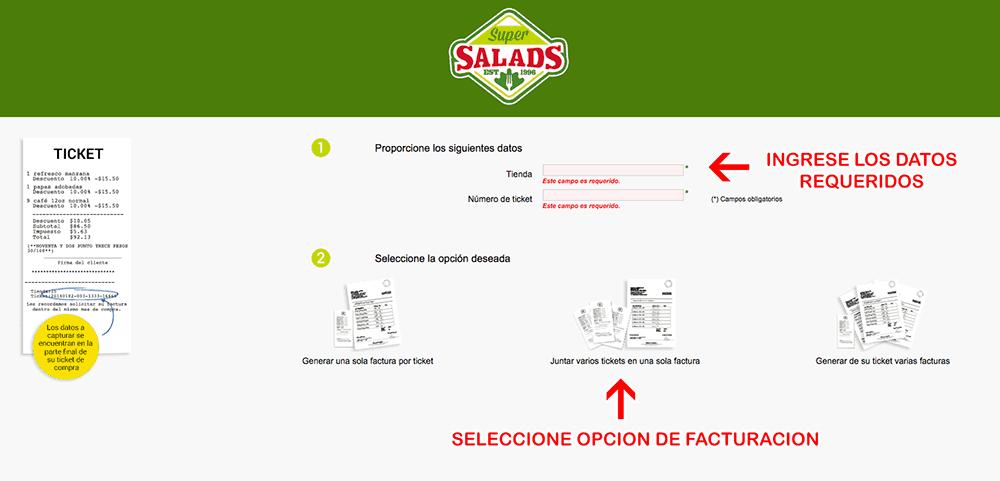 Super Salads Paso 1  Captura de datos