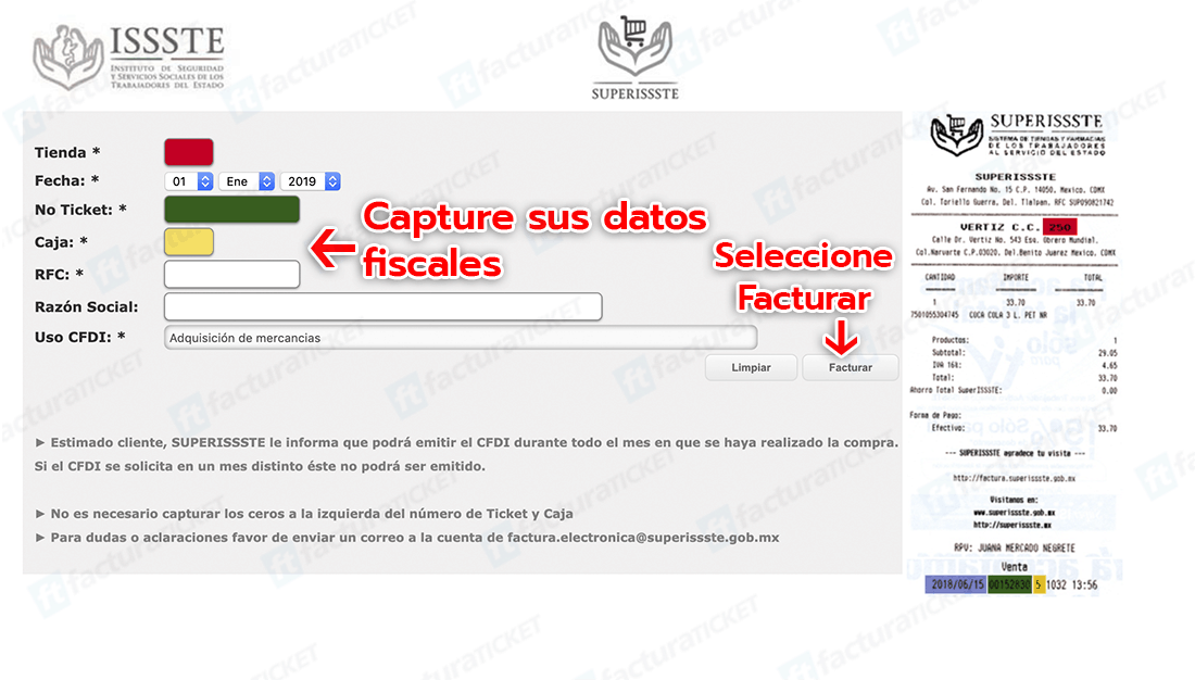 SUPERISSSTE Paso 1  Capture Datos Fiscales