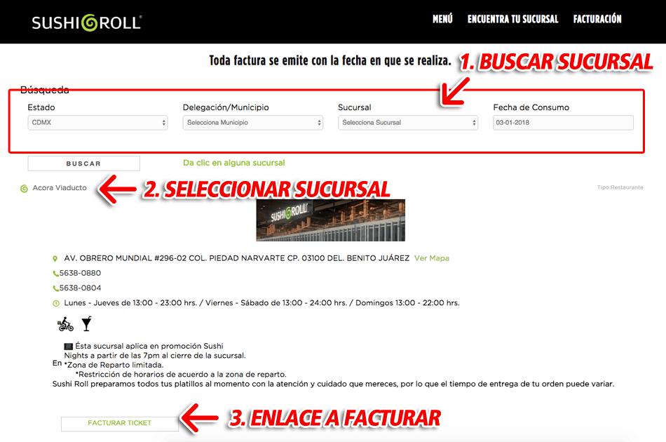 SUSHI ROLL Paso 1  Elegir sucursal y enlace de facturación.