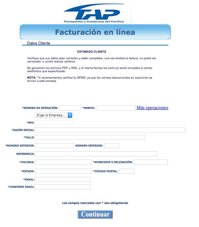 TAP  Paso 2 –Capture los datos del boleto y de su Domicilio Fiscal