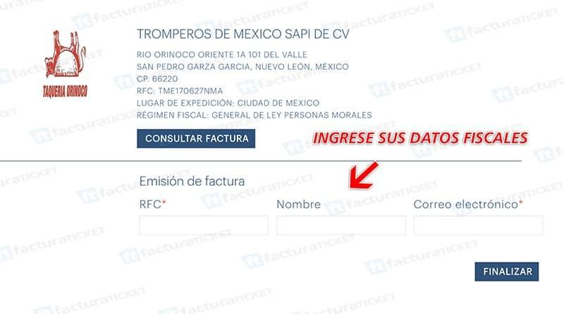 Taquería Orinoco Paso 2  Selección de operación