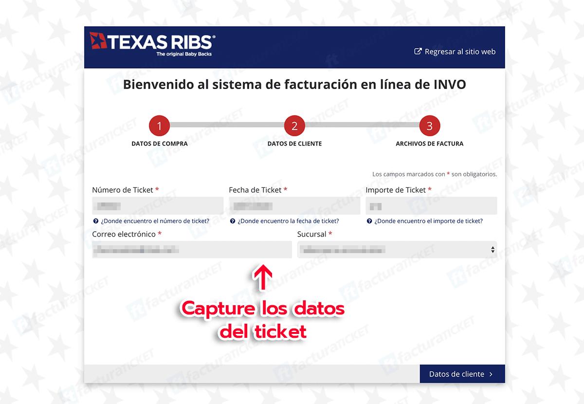 Texas Ribs Paso 1 Capturar Datos del Ticket