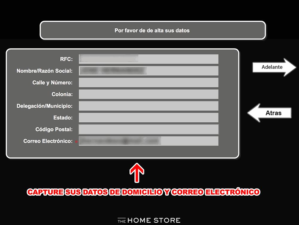 The Home Store Paso 2  Captura de datos