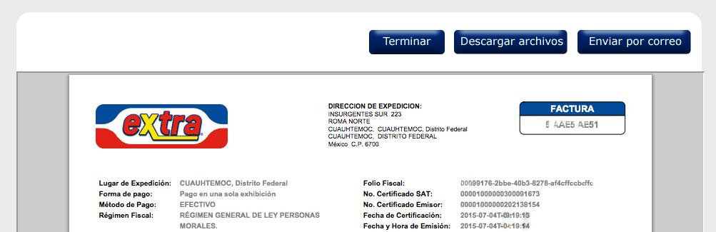 Tiendas Extra Paso 3 Reciba sus archivos en PDF y XML