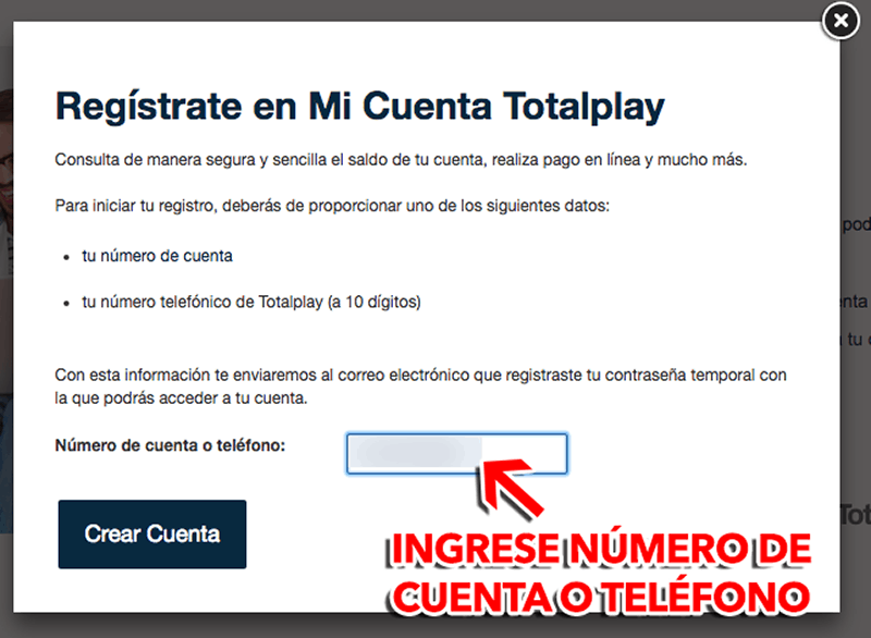 Total Play Paso 1  Registro