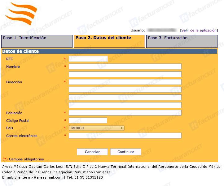 TPV Grupoareas Paso 2  Capture sus DatosFiscales y Correo Electrónico