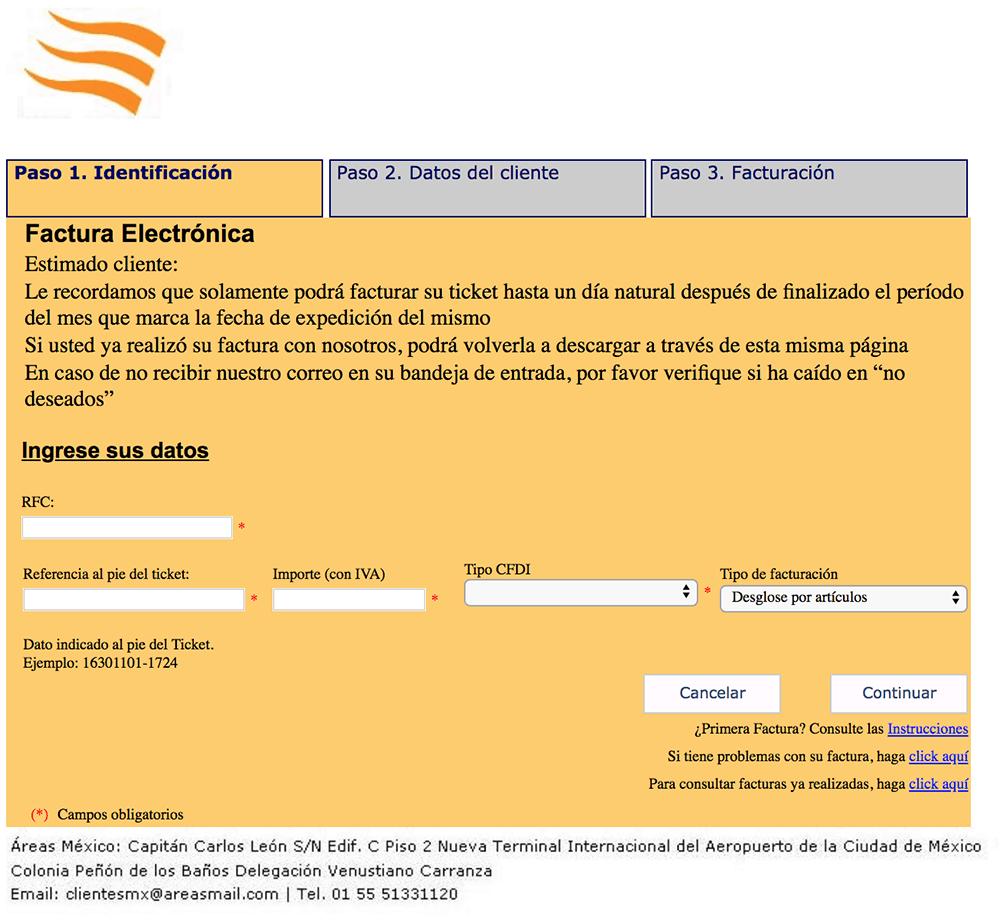 TPV Grupoareas Paso 1  Capture Datos del Ticket y su RFC
