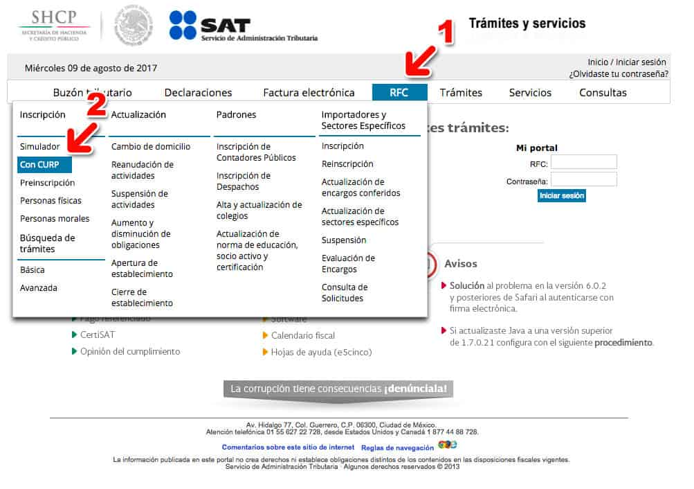 Cómo saber mi clave correcta del RFC en el SAT Paso 1 – Ingresar al Portal de Trámites y Servicios del SAT
