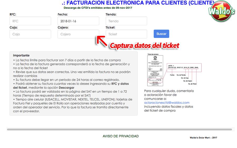 Waldos Paso 1  Capture su RFC y los Datos del Ticket.