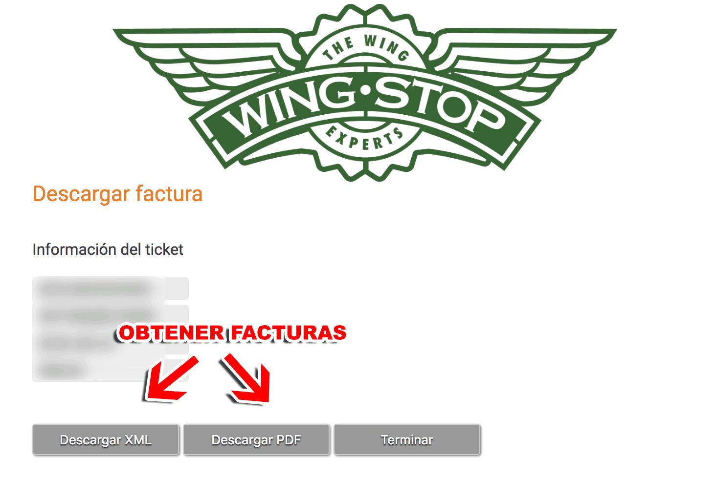 Wingstop Paso 3  Obtención de factura