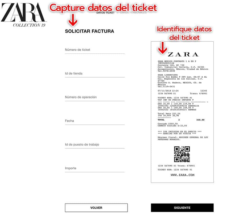 Zara Paso 1   Capture la información de su ticket