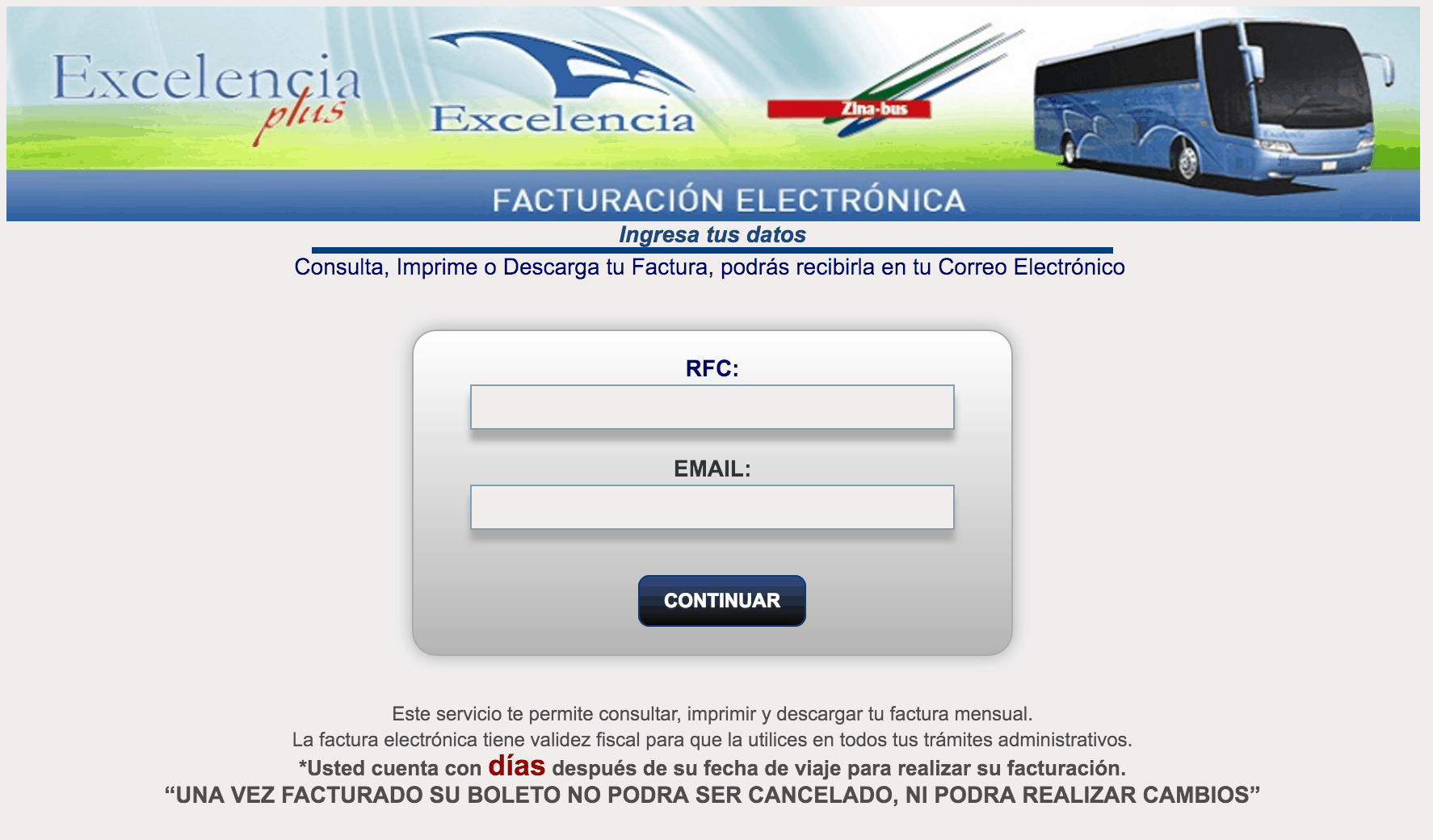 Zina Bus  Paso 1 – Ingrese al Sistema.