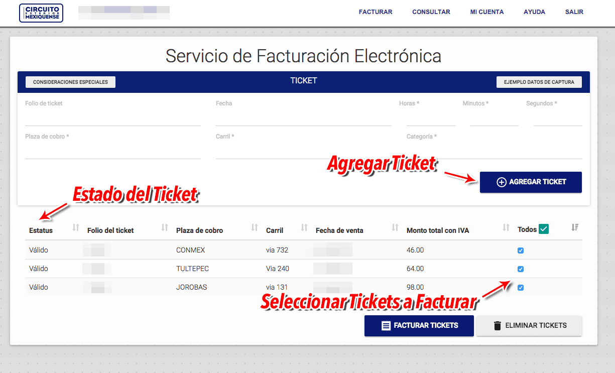 Circuito Mexiquense Paso 2  Capture de datos de ticket