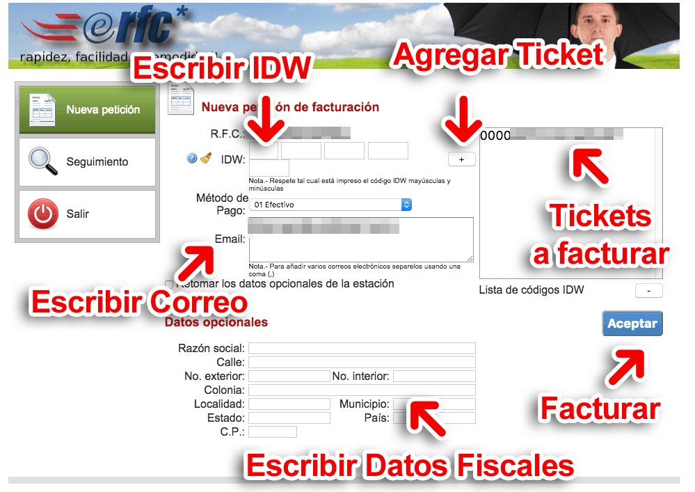 eRFC (Gasolineras) Paso 2  Capture Datos del Ticket