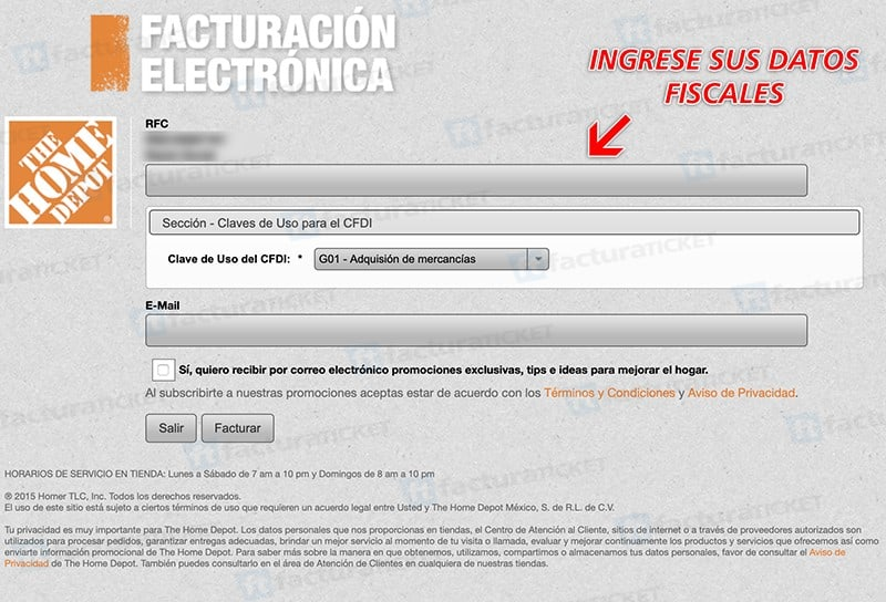 Home Depot Paso 2  Capture Datos Fiscales